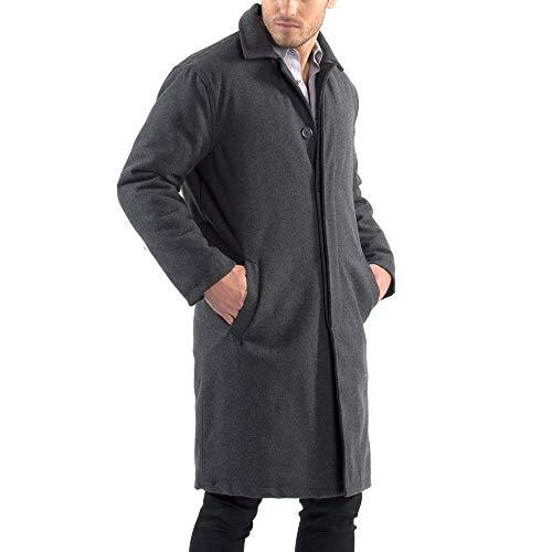 Alpine Swiss Zach Mens Wool Trench Coat Knee Length Overcoat Gray Med