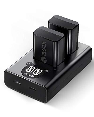 Oxsmal NP-FW50 Kamera Akku für Sony Alpha 6000/6500 /6400/6300 /7/7 II/NEX 3/5/7 und SLT-A Series,1100mAh Ersatzakkus, Micro USB & Typ C Lade Anschluss, 2 Stück mit Ladegerät