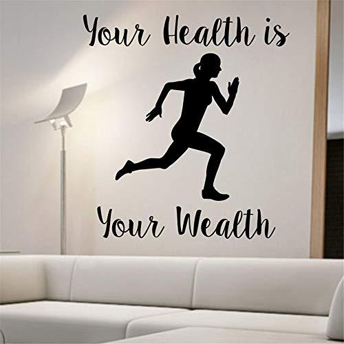 Tu salud es tu riqueza. Vinilo decorativo mujer running. Decoración del hogar. Pegatinas de vinilo removibles para fondos deportivos. Los 59x66cm