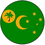 Decoración para tarta con diseño de bandera de Islas Cocos (Keeling), redondo, círculo de 8 cm y 20 cm