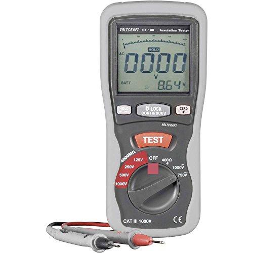 VOLTCRAFT ET-100 Isolationsmessgerät 125 V, 250 V, 500 V, 1000 V 400 MΩ