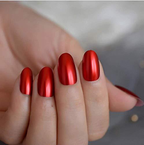 Valse nagels, nep nagels, natuurlijke parel elegante touch Franse manicure, reflecterende spiegel champagne roze metalen plating druk op valse acryl nagel tips Metallic ronde slijtage 5