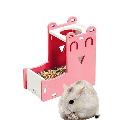 jieqing Automatischer Futterspender Futterspender Kaninchenfutter Bowl Wasserflasche Für Ratten Hamster Feeder Automatic Kaninchen-Zubehör Ratte Futternapf pink