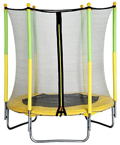 AMIGO Cama elástica de 139 cm – Cama elástica redonda para jardín con red de seguridad y barras acolchadas – cubierta de seguridad – Certificado TÜV (EN71) – verde/amarillo