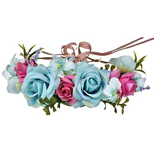 YAZILIND Boda Nupcial Color Rosa Flor Guirnalda Corona Mori Elegante T