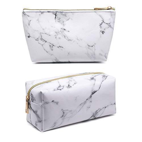 HJT® 2 pièces sac de maquillage en marbre porte-balais boîte de rangement de voyage sac à cosmétiques portable, avec fermeture à glissière dorée pour hommes et femmes