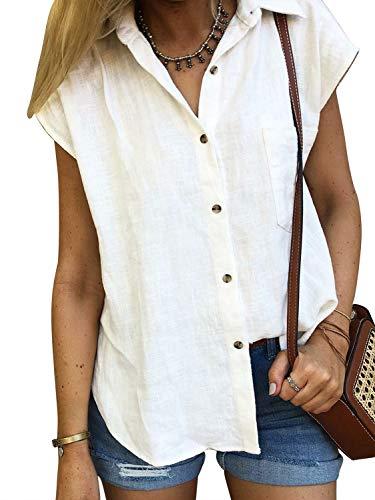 Lantch Damen Bluse Shirt Kurzarm Hemd Tops Oberteile Frauen Hemdbluse Elegant T-Shirt Lässige Mode Button V-Ausschnitt, M, Weiß