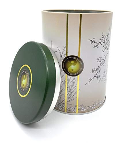 Perfekto24 Teedose für losen Tee 250g – Vorratsdose für Tee in Silber (Ying&Yang Design) – Tee Aufbewahrung mit Aromadeckel - aromadicht/luftdicht – Blechdose rund - BPA frei