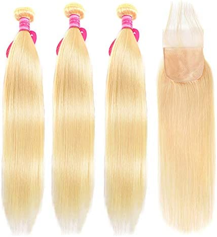 Aopusi 613 Hair Bundles with Lace Closure Straight 613 Honey Blonde Bundles with Fake Scalp product image