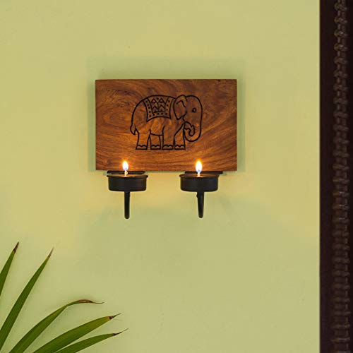 Exclusive Lane 'The Elephant Warriors' Hand Carved Wall Tealight Holders