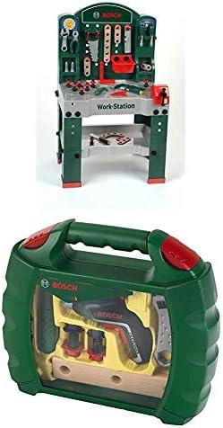Theo Klein 8580 Bosch Work-Station I 44-teilig I Werkbank inkl. Arbeitssplatte mit Lernfunktion I Maße: 61 cm x 44,5 cm x 101 cm I Spielzeug für Kinder ab 3 Jahren