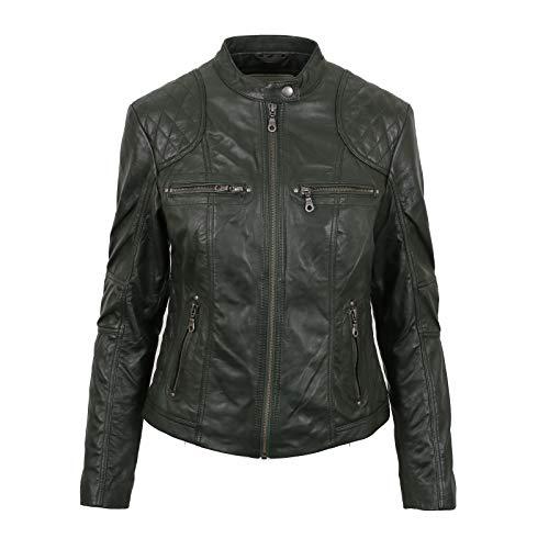 PAUL BERMAN Ladies Real Leather Dark Green Biker Jacket 12