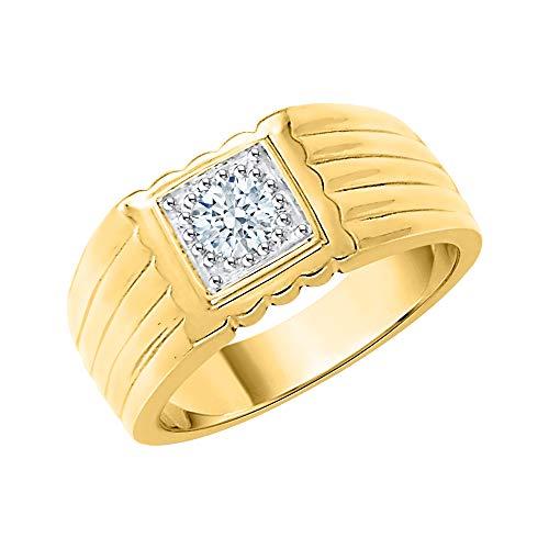 KATARINA Anillo solitario para hombre de diamantes en oro de 14 quilates (3/8 quilates, J-K, SI2-I1)