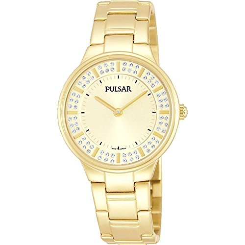 Pulsar vrouwen 30mm vergulde armband & case S. saffier kwarts gouden toon wijzerplaat analoge horloge PM2090X1