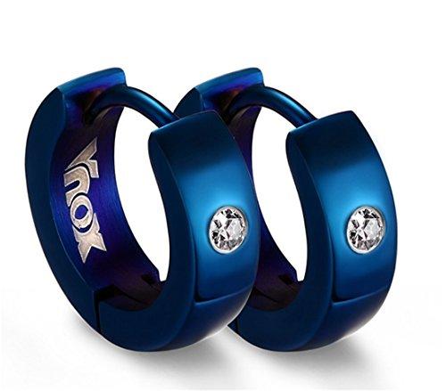GOODFUL Pendientes de aro resistentes al agua, de acero inoxidable (sin níquel), para hombre y mujer, con cierre de clip, color azul