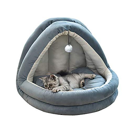 QIANGQIANG - Cama de terciopelo suave para gatos, gatos y perros pequeños, cómodo sofá con cojín extraíble lavable, color azul marino L: 55 x 44 x 44 cm