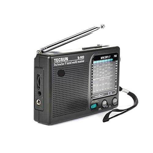 KAR Radio portátil, FM/MW/SW 9 Banda Palabra Receptor de Radio TECSUN R909 Radio estéreo de Radio Conveniente