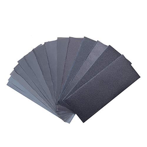 Schleifpapier Set,42 Stück 120 to 3000 Grit Schleifpapier Sortiment Trocken/Nass Für Automobilschleifen Holzbearbeitung und Holzdrehen, 9 x 3,6 Zoll