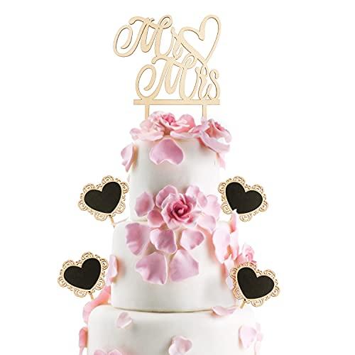 Topper Torta Nuziale,Mr e Mrs Cake Topper,Cake Topper Matrimonio in Legno,Decorazione per Torta Nuziale,Cake Topper per Torta Matrimonio per La Cerimonia Nuziale di San Valentino Anniversari Cake Deco