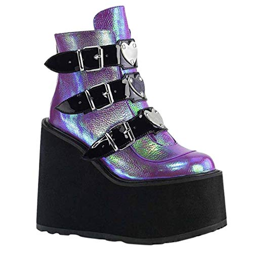 Aniywn Women's Platform Boots Round Toe Thick Wedge Heels Multicolor Motorcycle Boots Buckle Strap Party Ankle Boots Purple