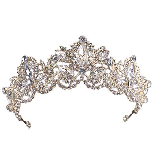 Barroco Exquisito Cristal Rhinestone Tiara Coronas Novia Coronas Joyería Nupcial Accesorio para...