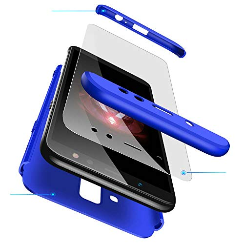 cmdkd Hülle Kompatibel mit Samsung Galaxy A6 Plus 2018 6.0 Zoll,Hardcase 3 in 1 Handyhülle 360 Grad Hülle Full Cover Hülle Komplett Schutzhülle Glatte Bumper + Panzerglas.Navy