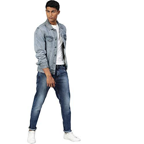 Urbano Fashion Men's Regular Fit Washed Full Sleeve Denim Jacket