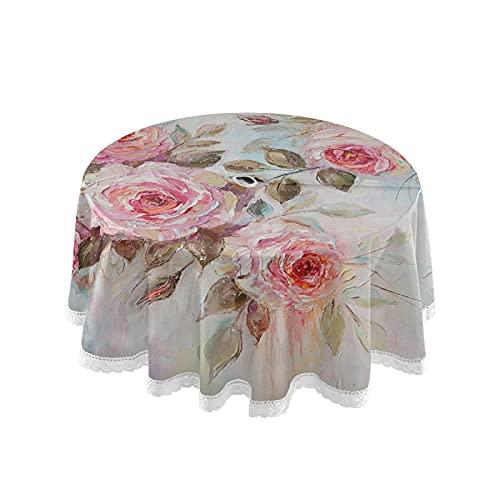 xigua Red Rose - Mantel redondo impermeable para exteriores, 60 pulgadas, con agujero para paraguas y cremallera, antideslizante, para barbacoas/picnic, decoración de mesa