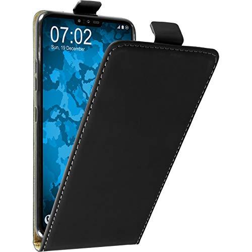PhoneNatic Kunst-Lederhülle kompatibel mit LG V40 ThinQ - Flip-Hülle schwarz Cover