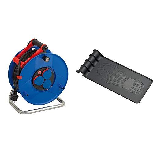 Brennenstuhl Garant IP44 Kabeltrommel (25m - Spezialkunststoff, Einsatz im Außenbereich & r& ums Haus) mit Trommeltritt (geeignet für einen Trommel-Ø von 240/290)