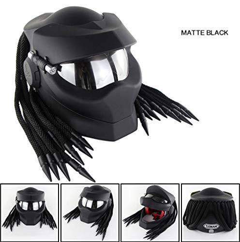 TIANTAI Motorrad-Sturzhelm, Predator Helm, UV-Schutz-Maske für Männer und Frauen, Off-Road-Motorrad-Integralhelme mit Braid, LED-Lampe DOT-Zertifizierung,01,XL