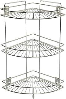 Single 3-Tier Stainless Steel Multipurpose Storage Kitchen Best Corner Stand Rack (Silver)