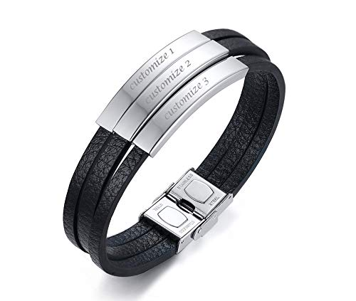 VNOX Custom Personalized Leather Bracelet for Men Stainless Steel Name ID Black Bracelet Black Leather Strap with 3 Free Engravings Bracelet Gift Man,21.5cm