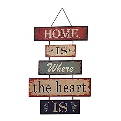 Foto di HUABEI Cartello Vintage in legno da appendere alle parete - Home is where the heart is