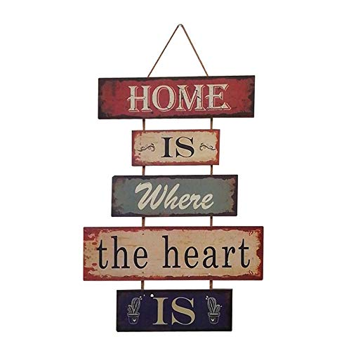 HUABEI Cartello Vintage in legno da appendere alle parete - Home is where the heart is