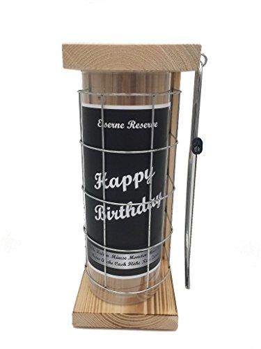 Happy Birthday Eiserne Reserve Spardose incl. Säge zum zersägen des Gitter, Geldgeschenk, das andere Sparschwein, witzige Sparbüchse, Geschenkidee