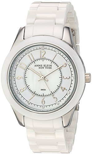 Anne Klein New York Women's Swiss Quartz Metal and Ceramic Dress Watch, Color:White (Model: 12/2225W