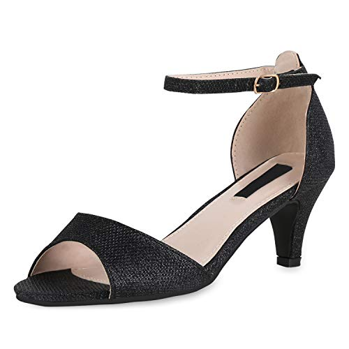 SCARPE VITA Damen Sandaletten Riemchensandaletten Party Schuhe Stiletto Absatzschuhe Elegante Glitzer Abendschuhe 180448 Schwarz Black 36