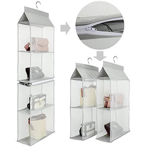 Handtaschen Aufbewahrung, Taschenorganizer Hängende Aufbewahrung mit 4 Slot geeignet für Taschen, klar, zum Aufhängen im Kleiderschrank, Platz sparend, für Wohnzimmer, Schlafzimmer, zu Hause, Grau