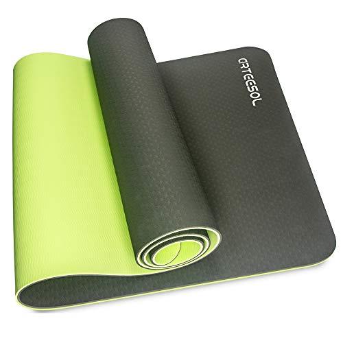 arteesol Yoga Mat NonSlip Exercise Mat PollutantFree TPE Fitness Mat with Carrying Strap for Yoga/Pilates/Exercises/Gymnastics183 x 61 x 06 cmDark Green