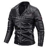 URIBAKY - Chaqueta de ocio, cachemira, con cremallera, cuello alto, bolsillo de piel, chaqueta de moto para chaqueta de motorista con cremallera para hombre, talla grande, Le Noir, XXXL