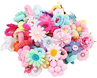 Candygirl Baby Girls Elastic Hair Ties Ponytail Holders Hair Bands Hair Elastic Value Set(50 small bow different design)