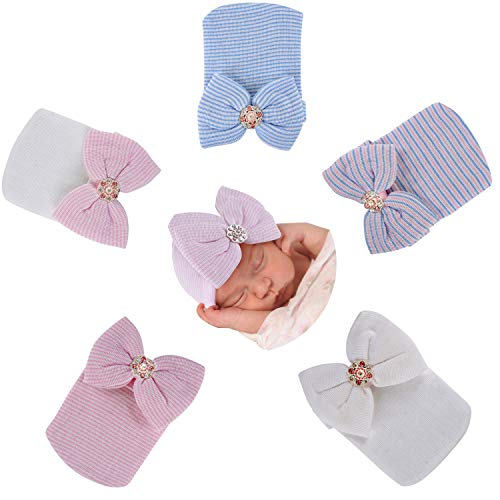 Gellwhu 5-Pack Newborn Baby Girl Bow Hats caps Beanies Hospital Infant hat Clothes Outfits