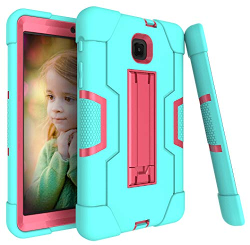 Galaxy Tab A 8.0 case 2018, Bingcok Full-Body Hybrid Shockproof Drop Protection Cover with Kickstand for Samsung Galaxy Tab A 8.0 2018 Model SM-T387 Verizon/Sprint/T-Mobile (Aqua+Rose)