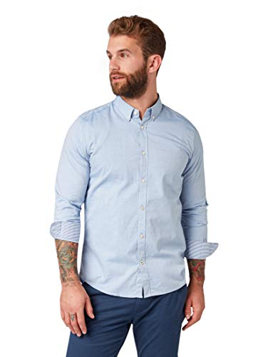 Tom Tailor Casual 1008320 Camisa, Azul (Light Blue Oxford 15837), Large para Hombre