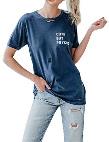 FromNlife Frauen Damen Cute BUT Psycho Brief Drucken Hohl Kurzarm Rundhals T-Shirt Tops Shirt