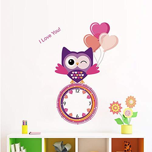 Mznm Leuke Liefde Uil Ballon Muursticker Decoratie Echte Klok Horloge Kids Kamer Slaapkamer Nusery Kamer Achtergrond Muur Art Decals