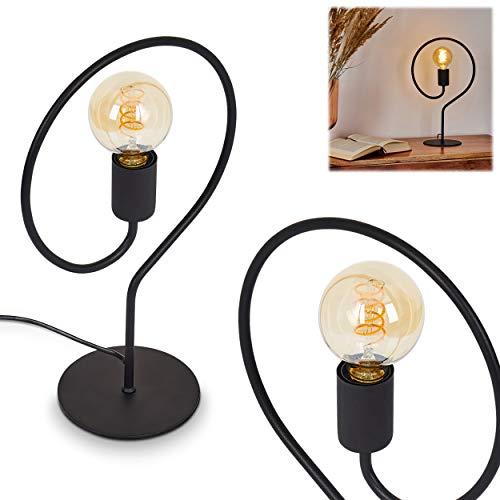 Tischlampe Mialo, moderne Tischleuchte aus Metall in Schwarz, 1 x E27 max. 40 Watt,Höhe 42 cm, Ø Leuchte 15 cm, verfügt über einen An-/Ausschalter am Kabel, IP20