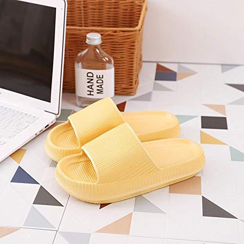 dihui Sommer Dusch Sandalen,Dicke Hausschuhe im Innenbereich, die außerhalb der Badeschuhe Baden-gelb_44-45,Beach Indoor Hausschuhe