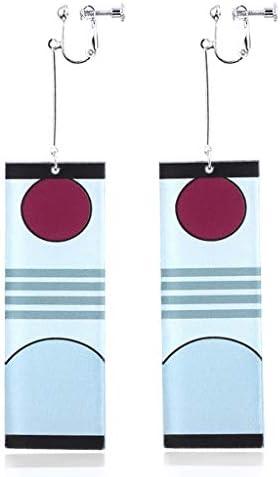 Anime Demon Slayer Earrings, Kimetsu no Yaiba Tanjiro Cosplay Earrings Clip On/Plugs, Drop Dangle Earrings Men Women